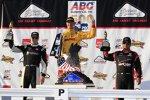 Das Pocono_Podium: Ryan Hunter-Reay (Andretti), Josef Newgarden (CFH) und Juan Pablo Montoya (Penske)