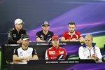 Nico Hülkenberg (Force India), Max Verstappen (Toro Rosso), Will Stevens (Manor-Marussia), Valtteri Bottas (Williams), Sebastian Vettel (Ferrari) und Jenson Button (McLaren)