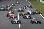 Nico Rosberg (Mercedes), Lewis Hamilton (Mercedes), Valtteri Bottas (Williams), Sebastian Vettel (Ferrari), Felipe Massa (Williams) und Sergio Perez (Force India)