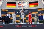 Nico Rosberg (Mercedes), Lewis Hamilton (Mercedes) und Sebastian Vettel (Ferrari)