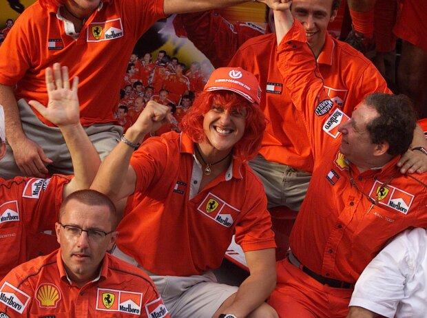 Luca Badoer, Michael Schumacher, Rubens Barrichello, Jean Todt