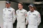Jenson Button (McLaren), Stoffel Vandoorne und Fernando Alonso (McLaren)