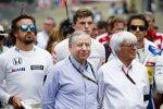 Jean Todt, Bernie Ecclestone und Felipe Massa (Williams)