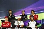 FIA-Pressekonferenz mit Romain Grosjean (Lotus), Daniil Kwjat (Red Bull), Roberto Merhi (Manor-Marussia), Fernando Alonso (McLaren), Lewis Hamilton (Mercedes) und Kimi Räikkönen (Ferrari)