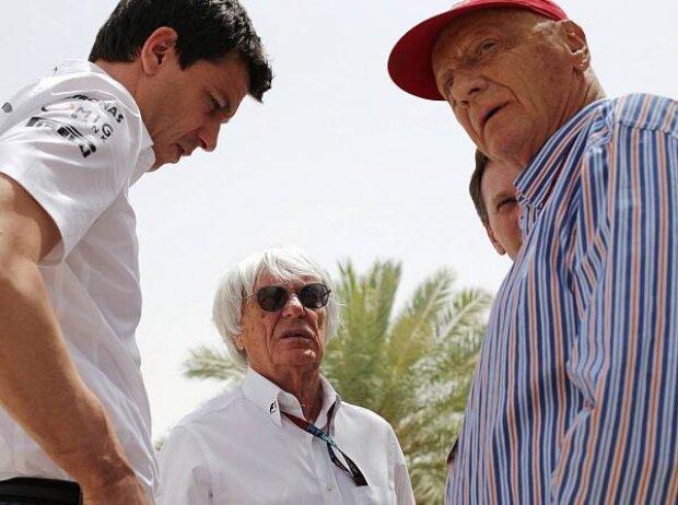 Toto Wolff, Bernie Ecclestone und Niki Lauda