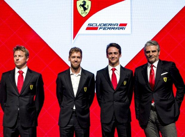 Kimi Räikkönen, Sebastian Vettel, Esteban Gutierrez, Maurizio Arrivabene