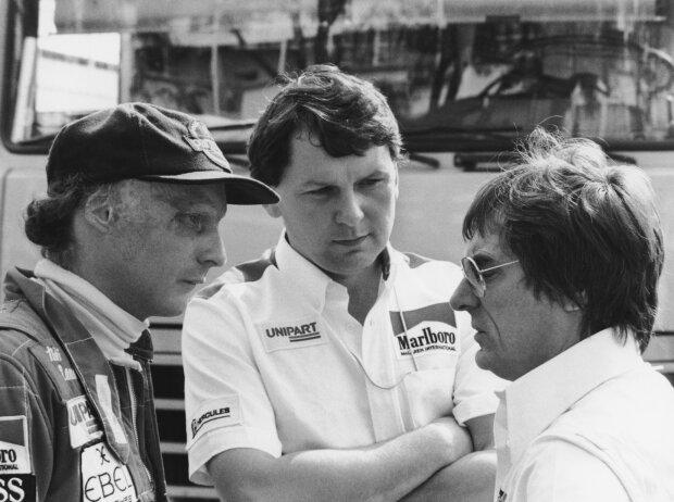 Niki Lauda, John Barnard, Bernie Ecclestone