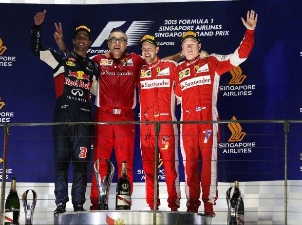 Daniel Ricciardo, Sebastian Vettel, Kimi Räikkönen