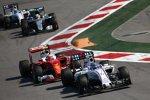 Valtteri Bottas (Williams), Kimi Räikkönen (Ferrari), Lewis Hamilton (Mercedes) und Felipe Massa (Williams)