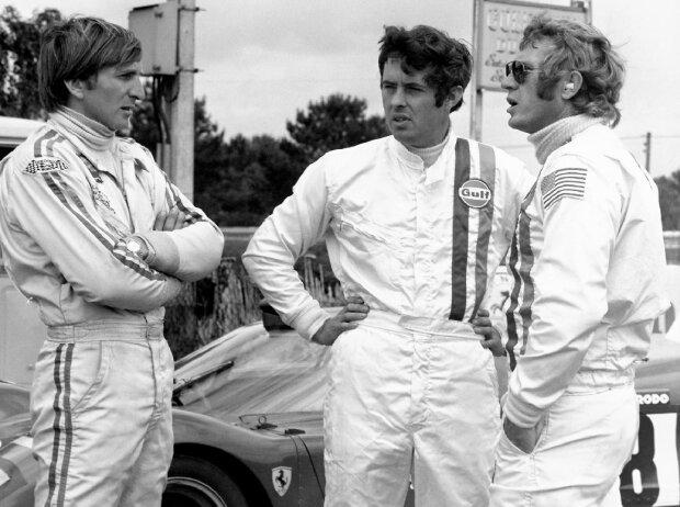 Le Mans 1970: Steve McQueen, Brian Redman und Derek Bell besprechen die Dreharbeiten zum Film
