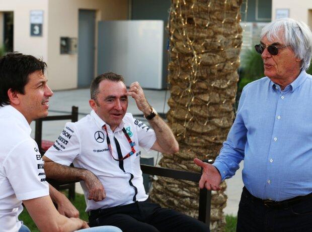 Toto Wolff, Bernie Ecclestone, Paddy Lowe