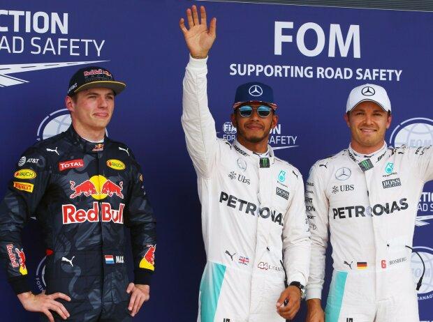 Max Verstappen, Lewis Hamilton, Nico Rosberg