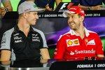 Nico Hülkenberg (Force India) und Sebastian Vettel (Ferrari)