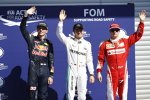 Nico Rosberg (Mercedes), Kimi Räikkönen (Ferrari) und Max Verstappen (Red Bull)