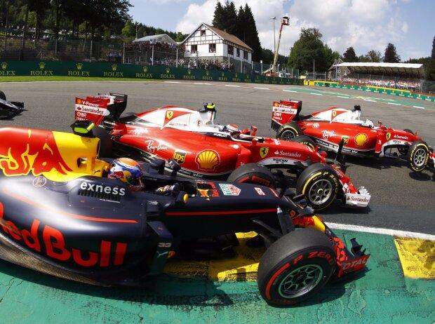 Max Verstappen, Kimi Räikkönen, Sebastian Vettel