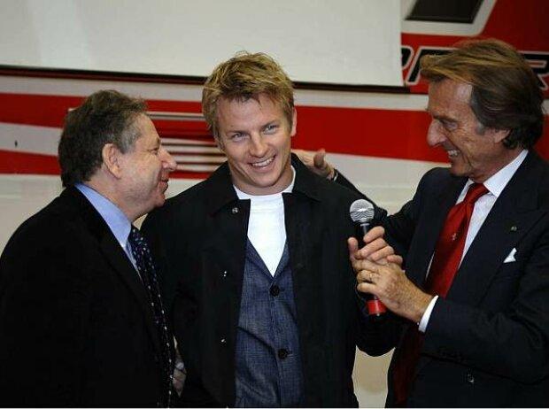 Jean Todt, Kimi Räikkönen und Luca di Montezemolo