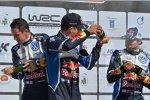 Julien Ingrassia, Sebastien Ogier (Volkswagen) und Andreas Mikkelsen (Volkswagen II)