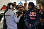 Nico Rosberg (Mercedes), Fernando Alonso (McLaren) und Daniel Ricciardo (Red Bull)