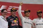 Max Verstappen (Red Bull), Nico Rosberg (Mercedes) und Lewis Hamilton (Mercedes)