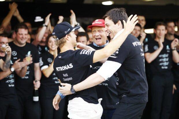 Nico Rosberg Niki Lauda Toto Wolff Mercedes Mercedes AMG Petronas Formula One Team F1 ~Nico Rosberg (Mercedes), Niki Lauda und Toto Wolff ~