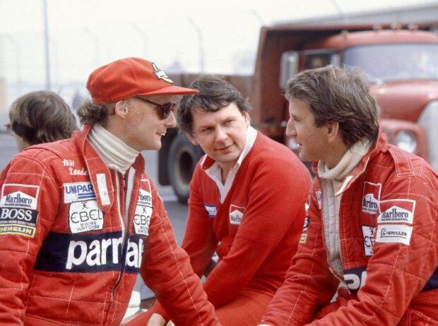 Niki Lauda, John Barnard und John Watson in Detroit 1982