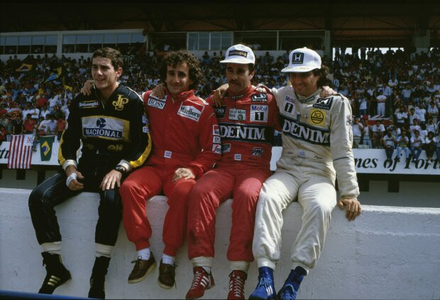 Alain Prost Nicolas Prost Nigel Mansell Nelson Piquet Jun. Lotus Lotus F1 Team F1McLaren McLaren Honda F1Williams Williams Martini Racing F1 ~Alain Prost, Nicolas Prost, Nigel Mansell und Nelson Piquet Jun. ~