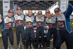 Miikka Anttila, Julien Ingrassia, Sebastien Ogier (Volkswagen), Andreas Mikkelsen (Volkswagen II) und Jari-Matti Latvala (Volkswagen)