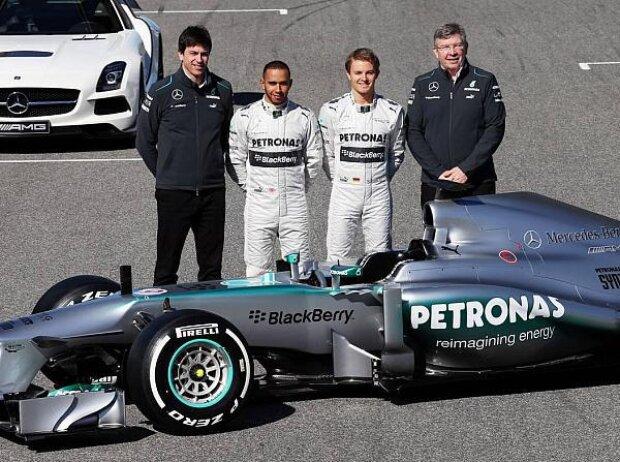 Toto Wolff, Lewis Hamilton, Nico Rosberg, Ross Brawn