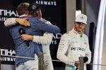 David Coulthard, Nico Rosberg (Mercedes) und Lewis Hamilton (Mercedes)