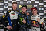 Johan Kristoffersson (Volkswagen Schweden) , Andreas Bakkerud (Hooingan) und  Toomas Heikkinen (EKS RX)
