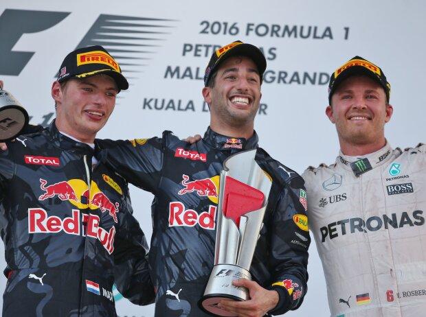 Max Verstappen, Daniel Ricciardo, Nico Rosberg