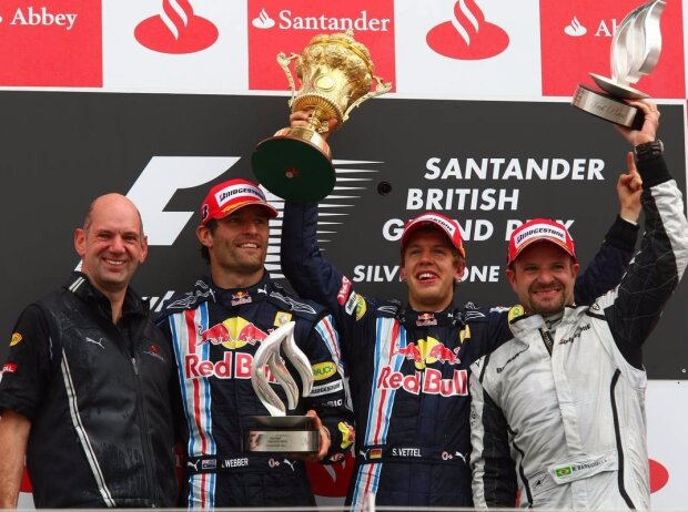 Mark Webber, Rubens Barrichello, Sebastian Vettel, Adrian Newey