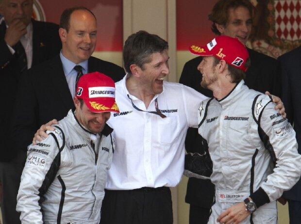 Jenson Button, Nick Fry, Rubens Barrichello