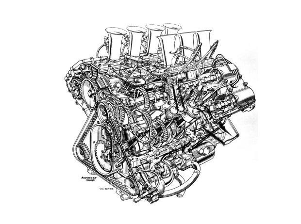 Der Ford-Cosworth DFV von 1967 in der Schnittdarstellung