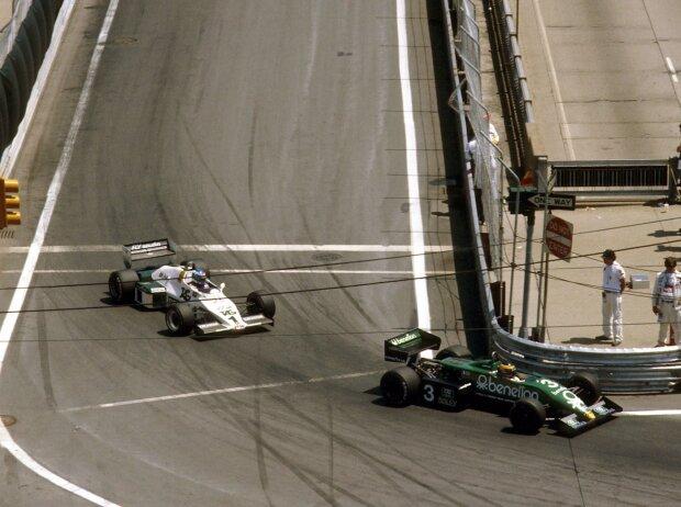 1983, US-Grand Prix in Detroit: Michele Alboreto im Tyrell-Ford 011 führt vor Keke Rosberg im Williams-Ford FW08C