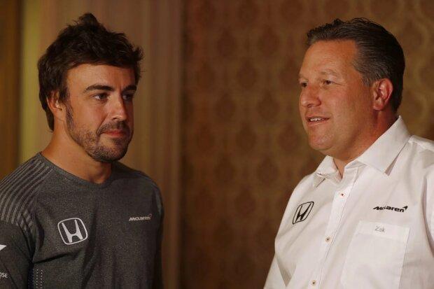 Fernando Alonso Zak Brown McLaren McLaren Honda F1Andretti Andretti Autosport IndyCar ~Fernando Alonso (McLaren) und Zak Brown ~