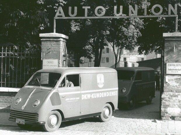 Das erste Fahrzeug, das aus der Ingolstädter Auto Union Produktion lief: Der DKW F 89 L Schnellaster