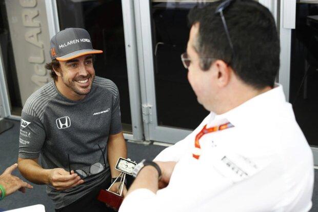 Fernando Alonso Eric Boullier McLaren McLaren Honda F1 ~Fernando Alonso (McLaren) und Eric Boullier ~