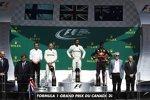 Lewis Hamilton (Mercedes), Valtteri Bottas (Mercedes) und Daniel Ricciardo (Red Bull)
