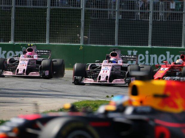 Esteban Ocon, Sergio Perez, Sebastian Vettel