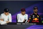 Valtteri Bottas (Mercedes), Lewis Hamilton (Mercedes) und Daniel Ricciardo (Red Bull)