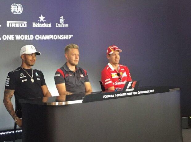 Lewis Hamilton, Kevin Magnussen und Sebastian Vettel