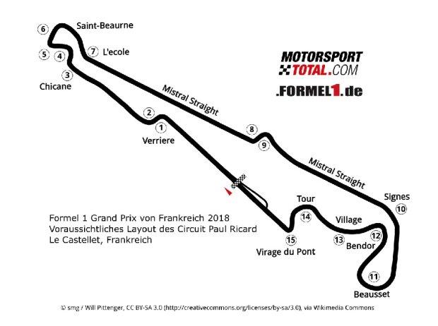 Formel 1 Grand Prix von Frankreich 2018 Voraussichtliches Layout des Circuit Paul Ricard Le Castellet, Frankreich