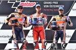 Marc Marquez (Honda), Andrea Dovizioso (Ducati) und Daniel Pedrosa (Honda)