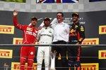 Lewis Hamilton (Mercedes), Sebastian Vettel (Ferrari) und Daniel Ricciardo (Red Bull)