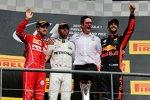 Sebastian Vettel (Ferrari), Lewis Hamilton (Mercedes) und Daniel Ricciardo (Red Bull)