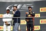 Lewis Hamilton (Mercedes), Mark Webber und Daniel Ricciardo (Red Bull)