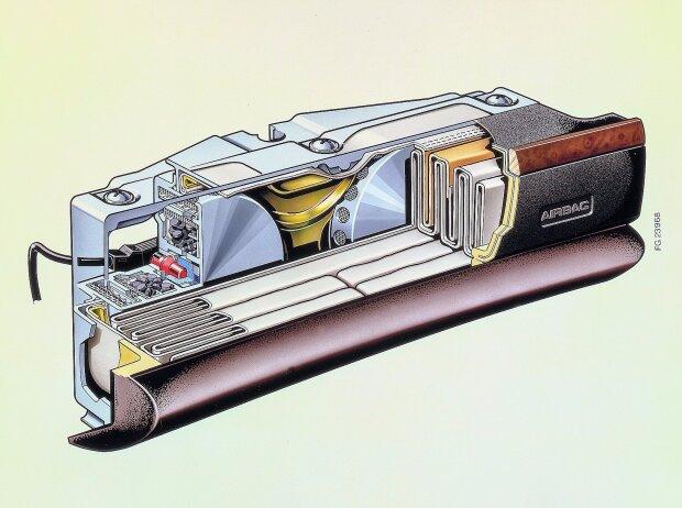 Schnittzeichnung des Beifahrer-Airbag-Moduls der Mercedes-Benz S-Klasse (W 126). Wesentliche Komponenten in der Darstellung sind der zusammengefaltete Luftsack sowie die beiden Gasgeneratoren mit ihrer Füllung aus Festtreibstoffpellets