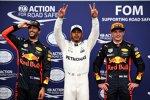 Daniel Ricciardo (Red Bull), Lewis Hamilton (Mercedes) und Max Verstappen (Red Bull)
