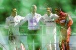 Valtteri Bottas (Mercedes), Lewis Hamilton (Mercedes) und Sebastian Vettel (Ferrari)